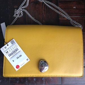 Zara yellow boxy purse with silver hardware